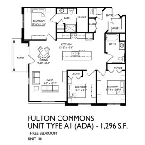 Fulton Commons Apartments 3 bedroom floor plan