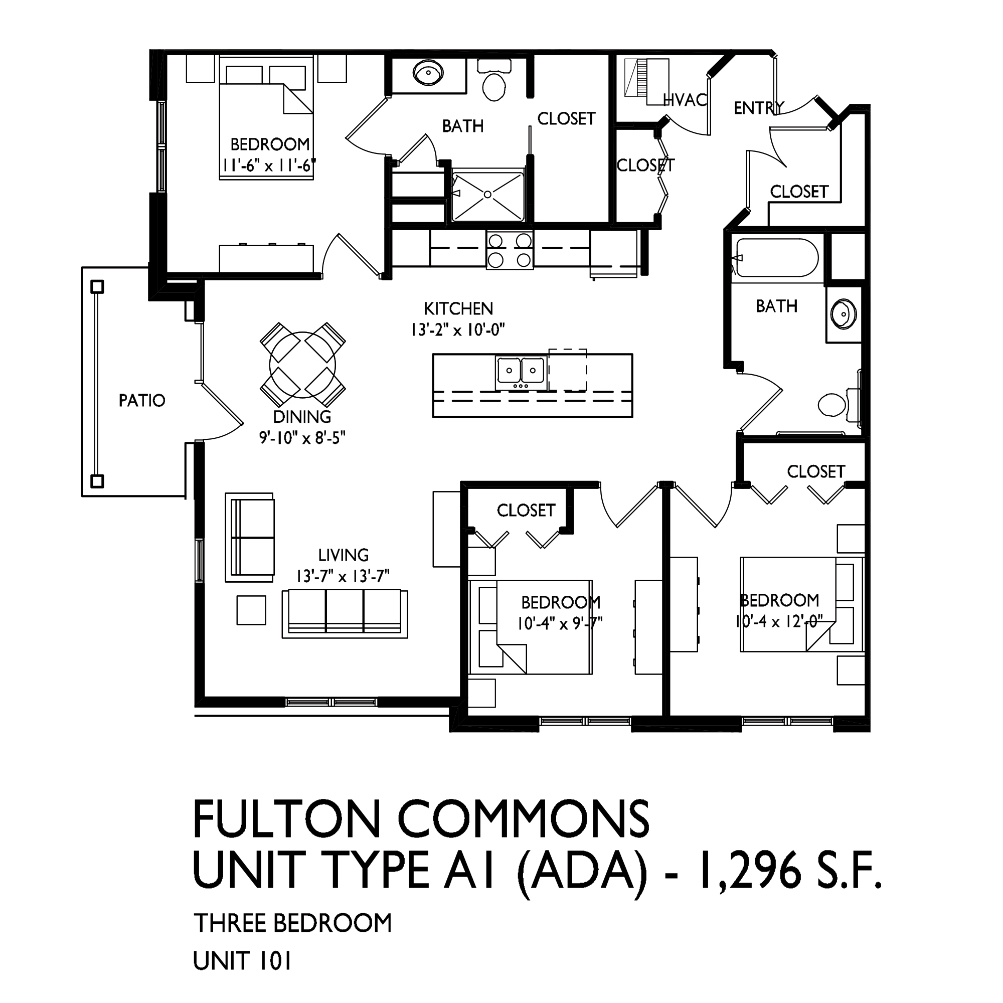 1-2-3 Bedroom Fulton Commons Apartment Floor Plans | Fulton ...