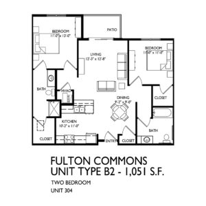 Fulton Commons Apartments 2 bedroom floor plan