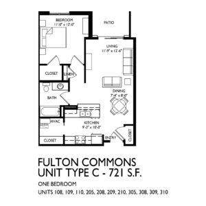 Fulton Commons Apartments 1 bedroom floor plan
